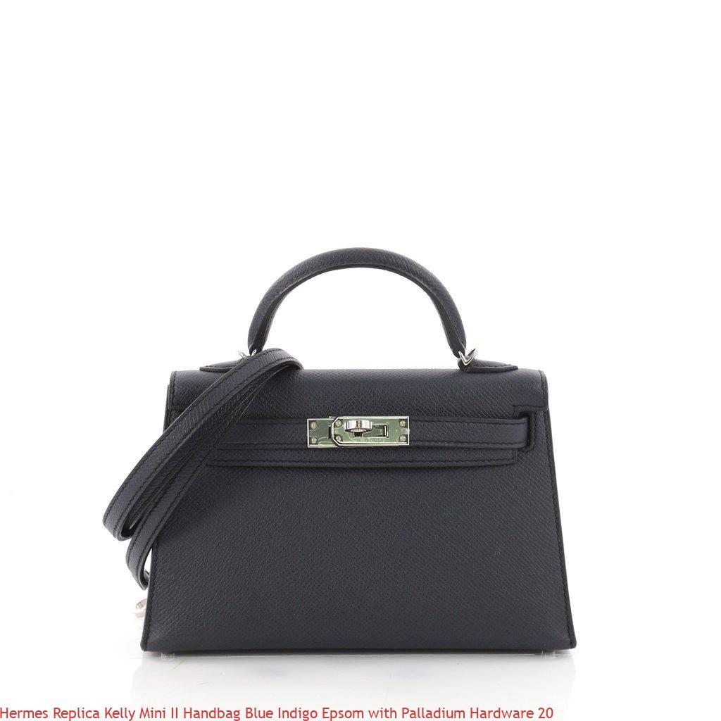 7380895fa5 Hermes Replica Kelly Mini II Handbag Blue Indigo Epsom with Palladium  Hardware 20