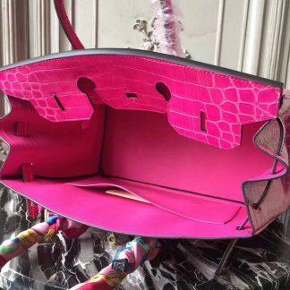 3729f8b33a ... 7 Star Replica Hermes Birkin 30cm 35cm Bag In Rose Red Crocodile  Leather Tucson